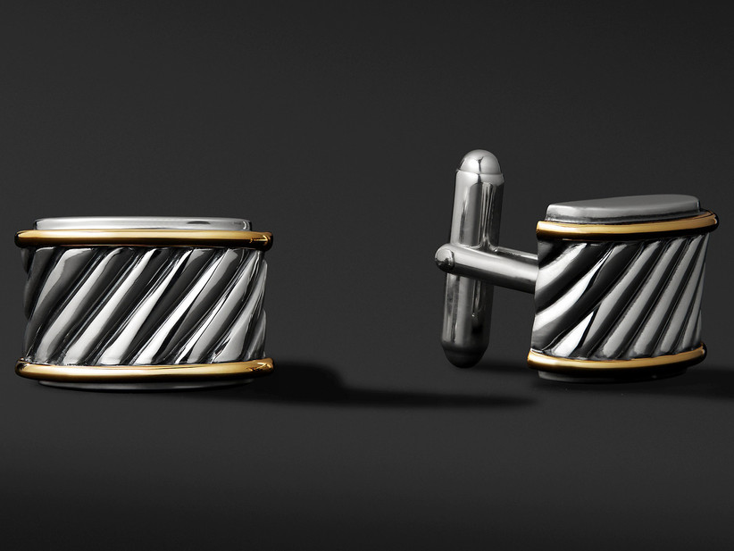 Rounded rectangular silver and yellow gold cuff links with elegant twist design