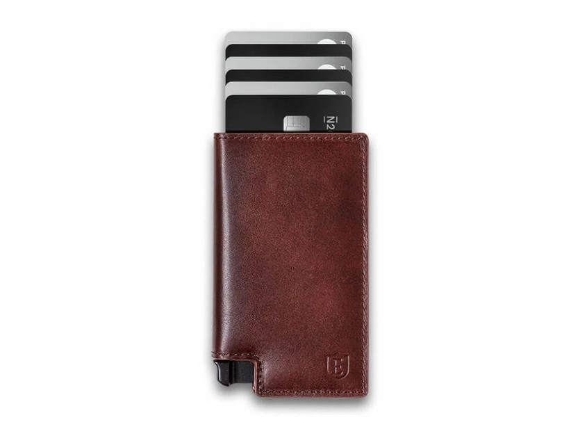 Sleek leather wallet with cardholder tray ejected