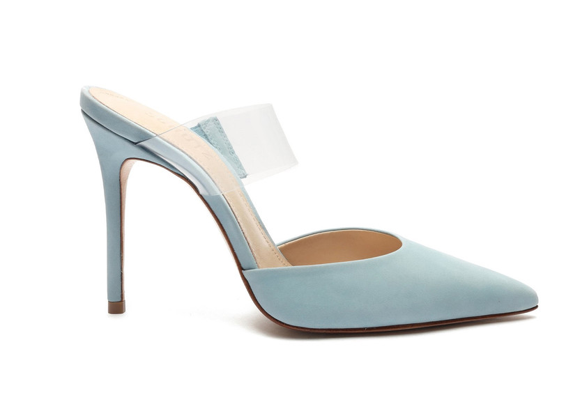 light blue pointed toe mule with stiletto heel and clear vinyl strap