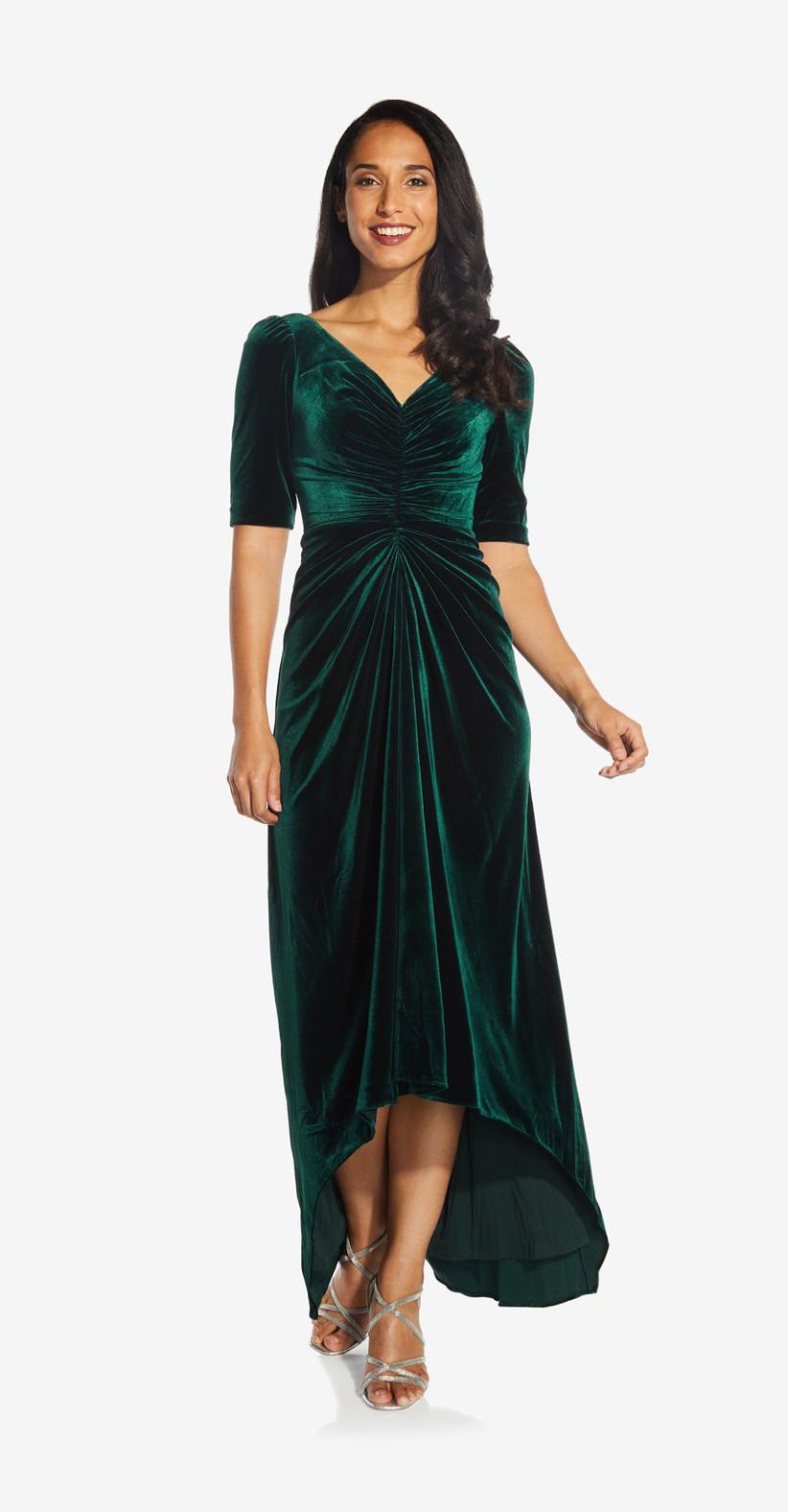 Velvet emerald formal fall wedding guest dress