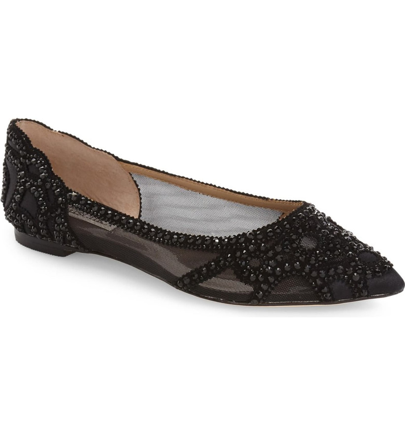 Wedding Guest Shoes beaded black flats