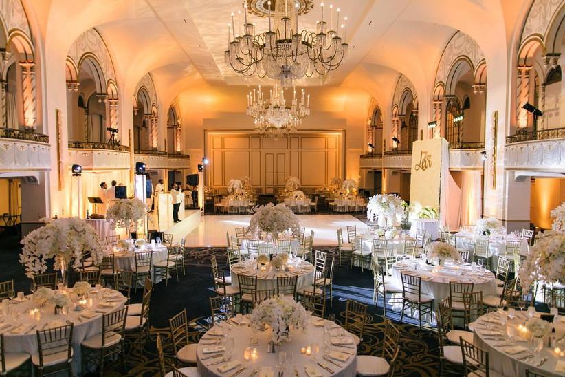 ballroom boston wedding venue with interior balconies and crystal chandeliers