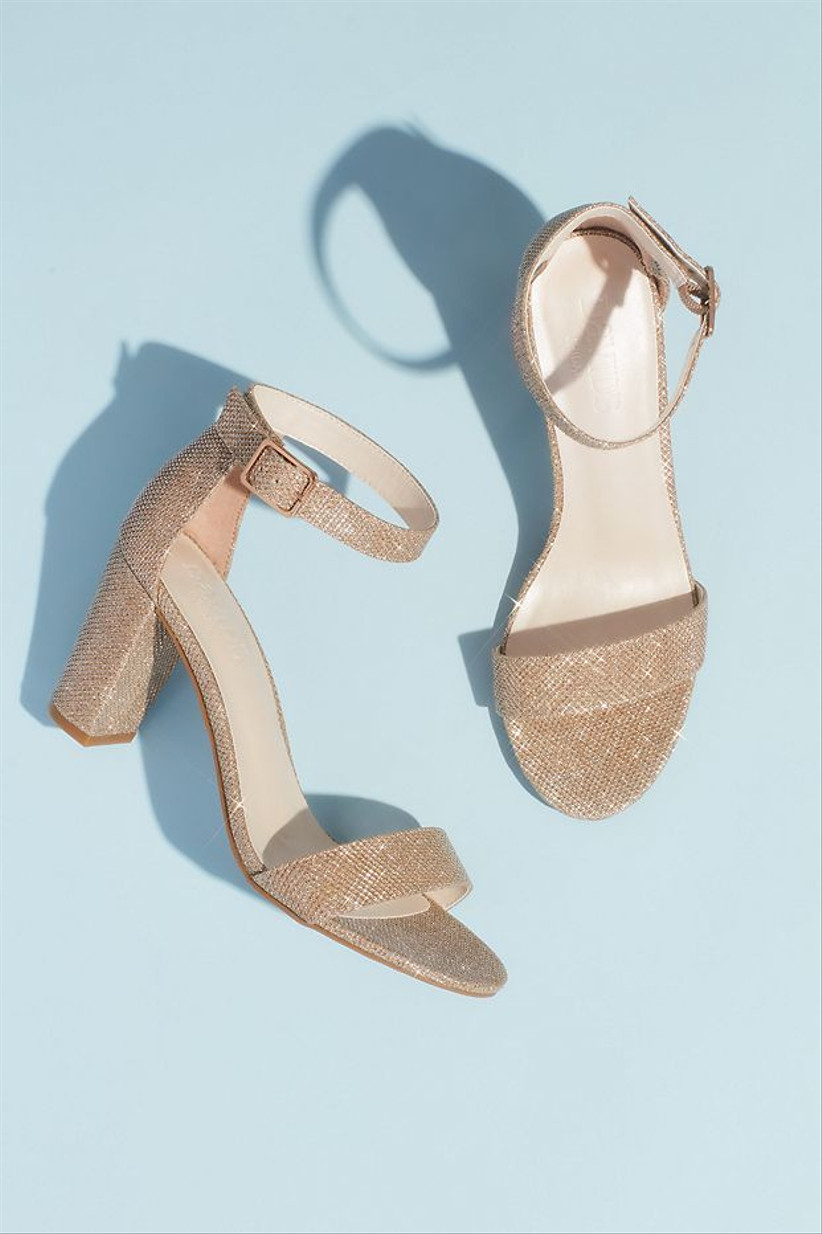 glitter gold block heel sandals