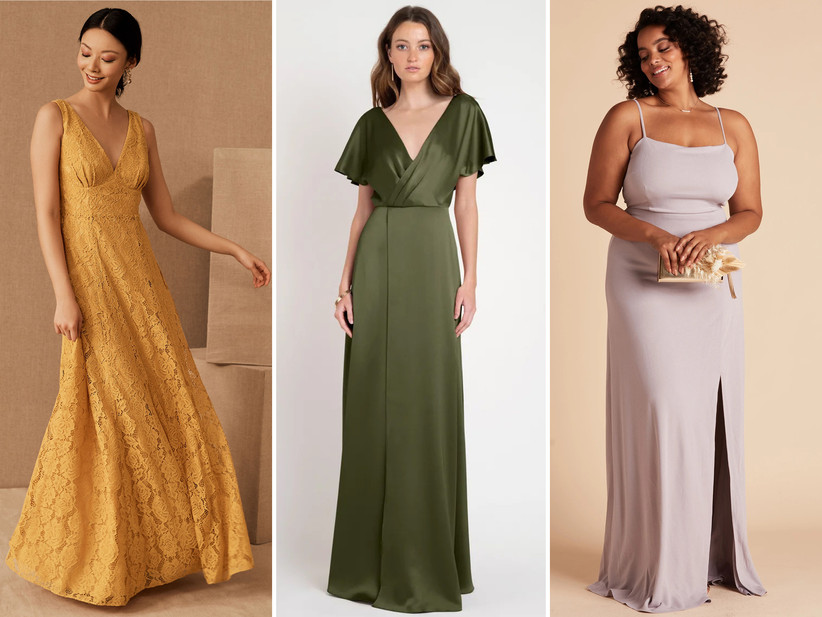 Collage of bridesmaid dresses left to right: marigold floral lace maxi, sage green satin dress with kimono sleeves, lilac spaghetti strap crepe dress