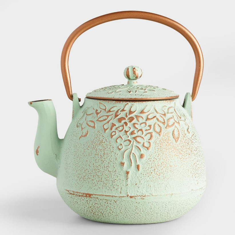 Vintage grapevine embossed green teapot with metallic handle