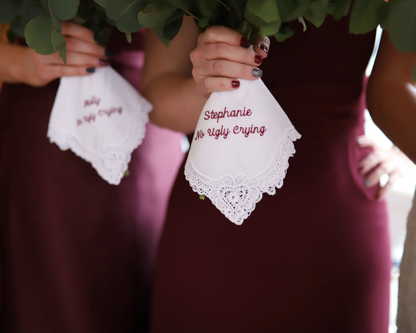 Funny embroidered handkerchief that reads No Ugly Crying