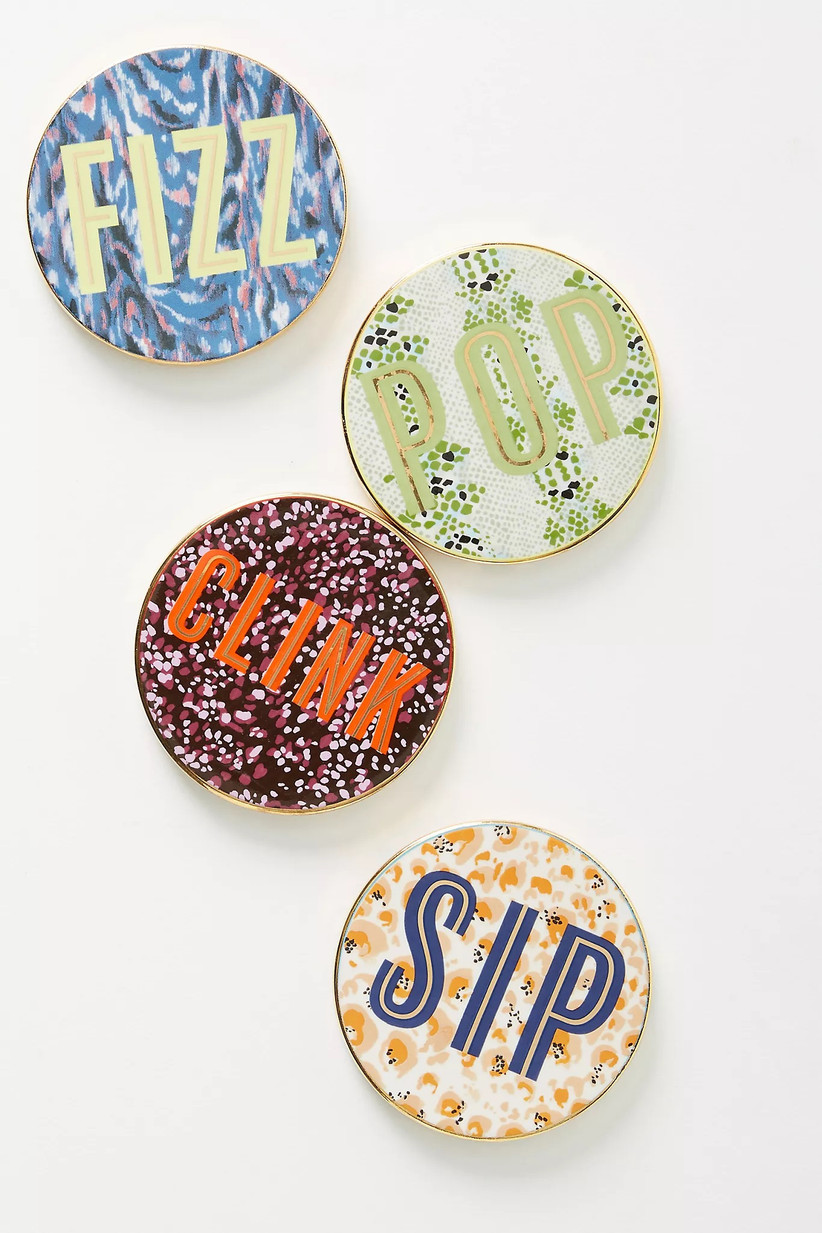 Fizz, Pop, Clink, and Sip coaster set housewarming gift for couples