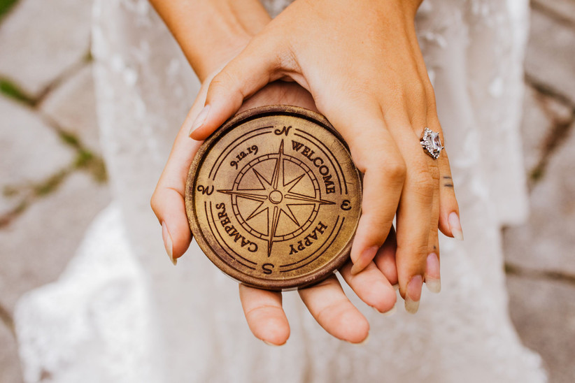 travel themed wedding favor idea custom chocolate decorated with compass symbol and wedding date