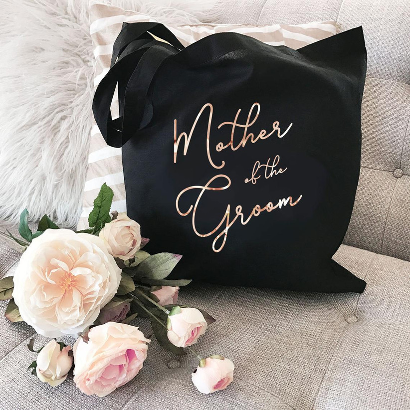 Black Mother of the Groom tote bag with metallic lettering