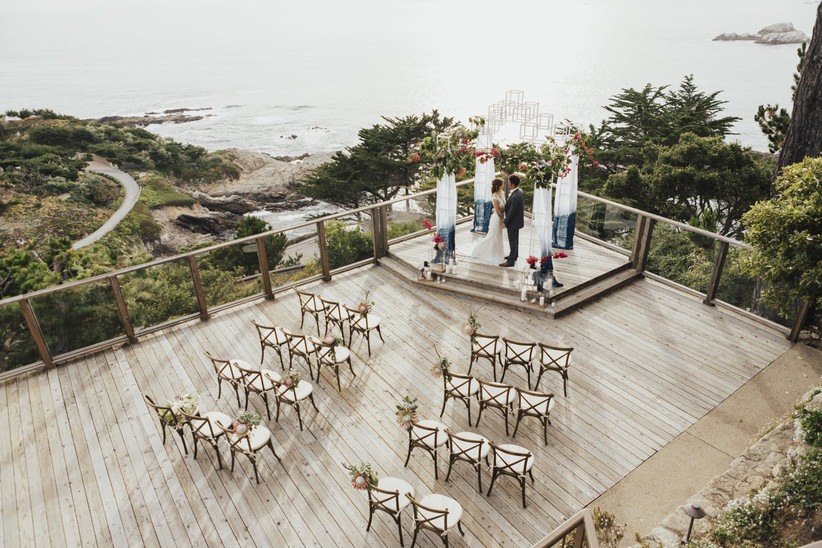 aerial view of oceanfront ceremony space hyatt carmel highlands with big sur coastline in the background