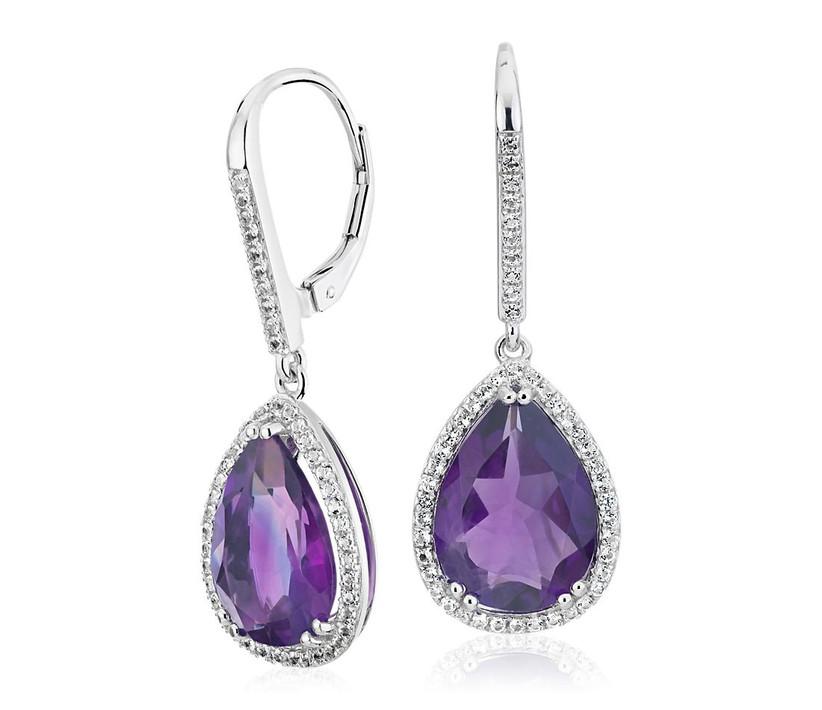 amethyst diamond halo drop earrings