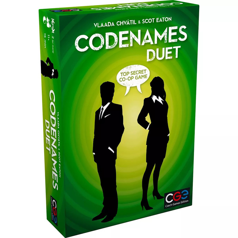 Green Codenames Duet game box with silhouette of male and female secret agents