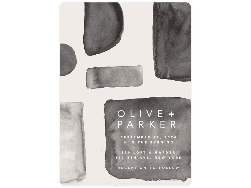 Abstract monochrome affordable wedding invitation
