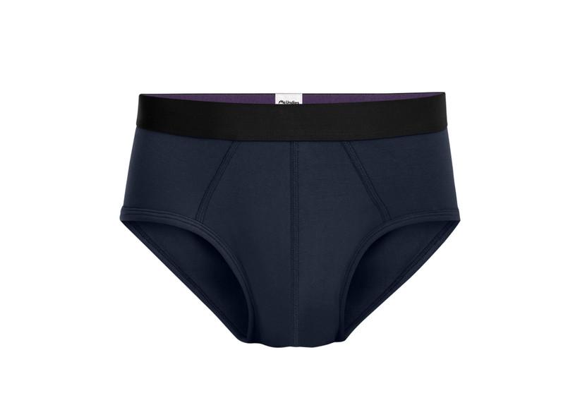 Plain navy briefs with black waistband