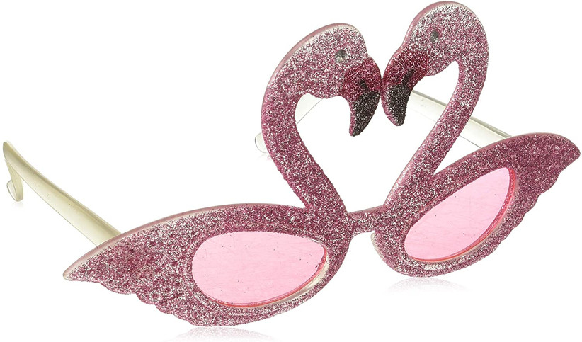 pink glitter flamingo-shaped sunglasses