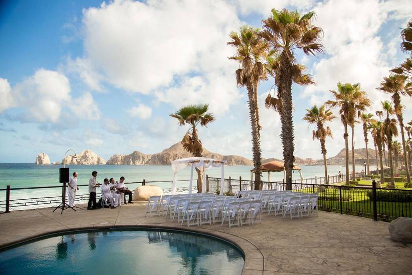 outdoor wedding ceremony overlooking mountains and ocean
