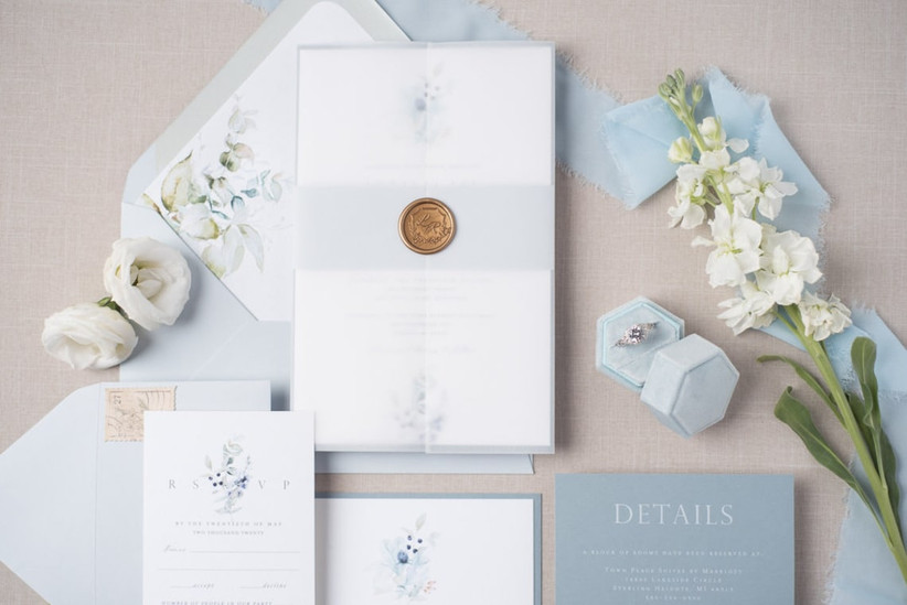 spring wedding invitations light blue with watercolor flowers