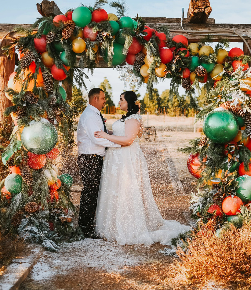 christmas wedding ceremony backdrop