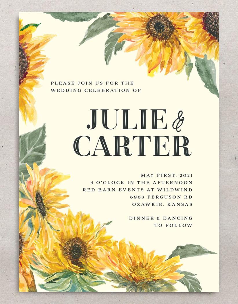 rustic fall wedding invitation with sunflower print border