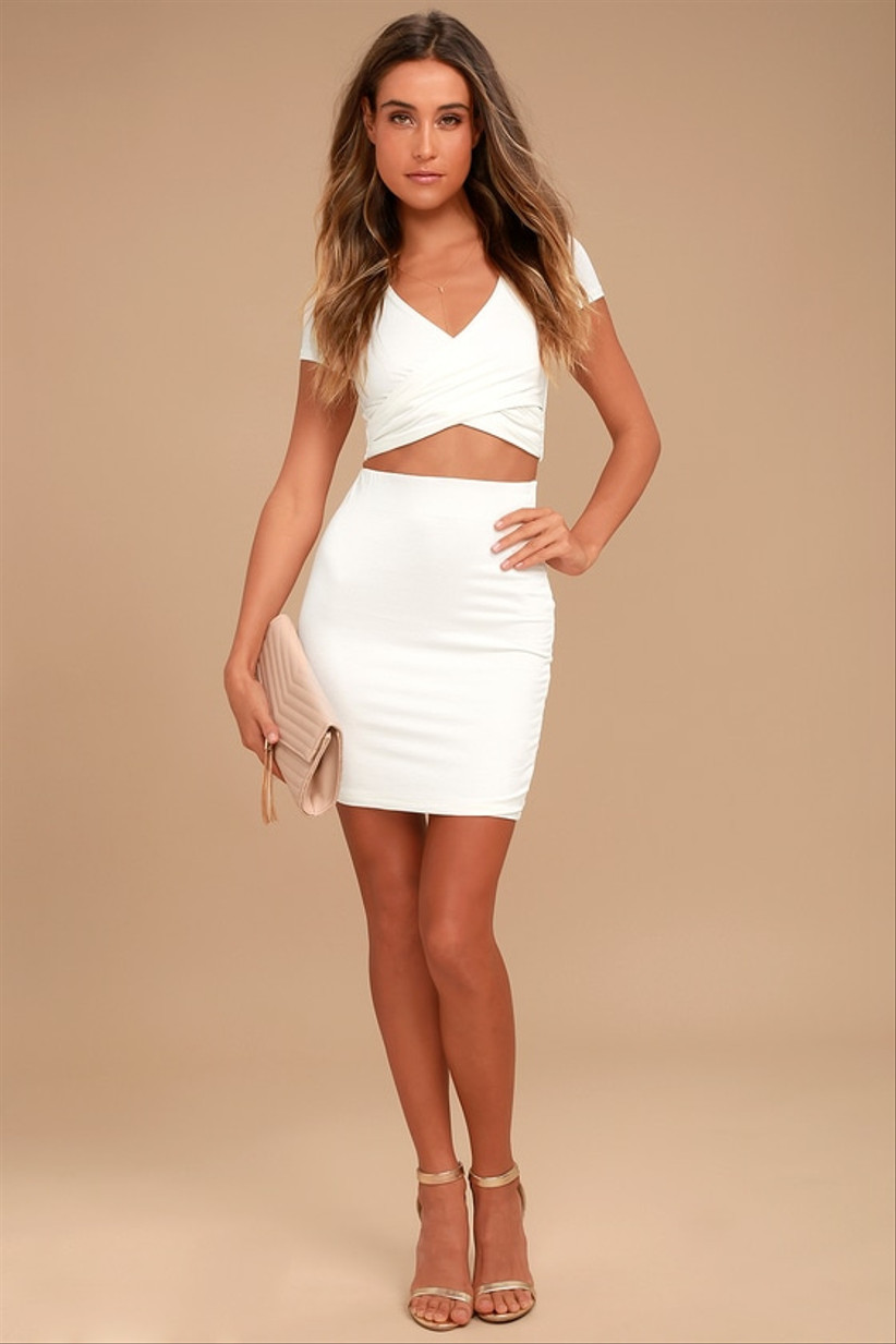 white cutout bachelorette party dress bodycon style with triangle cutout at front of waist