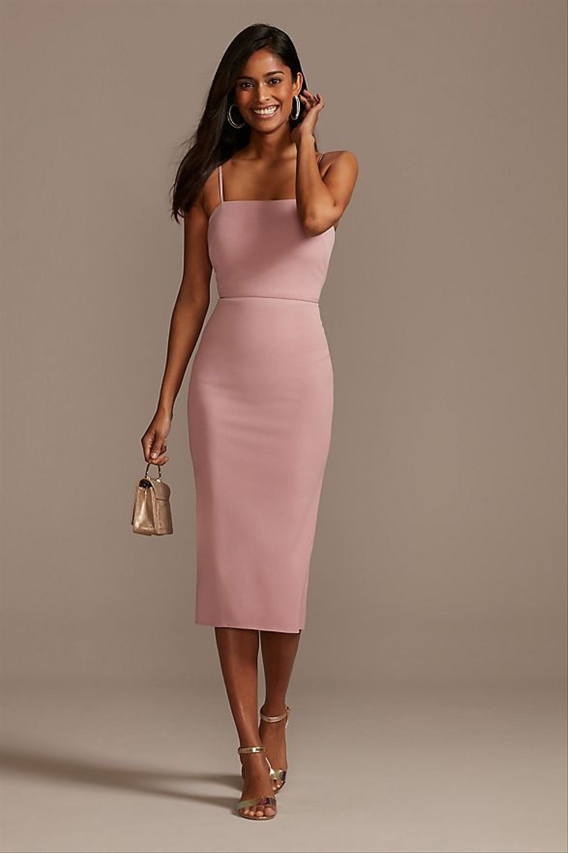 fitted pink bridesmaid dress midi length