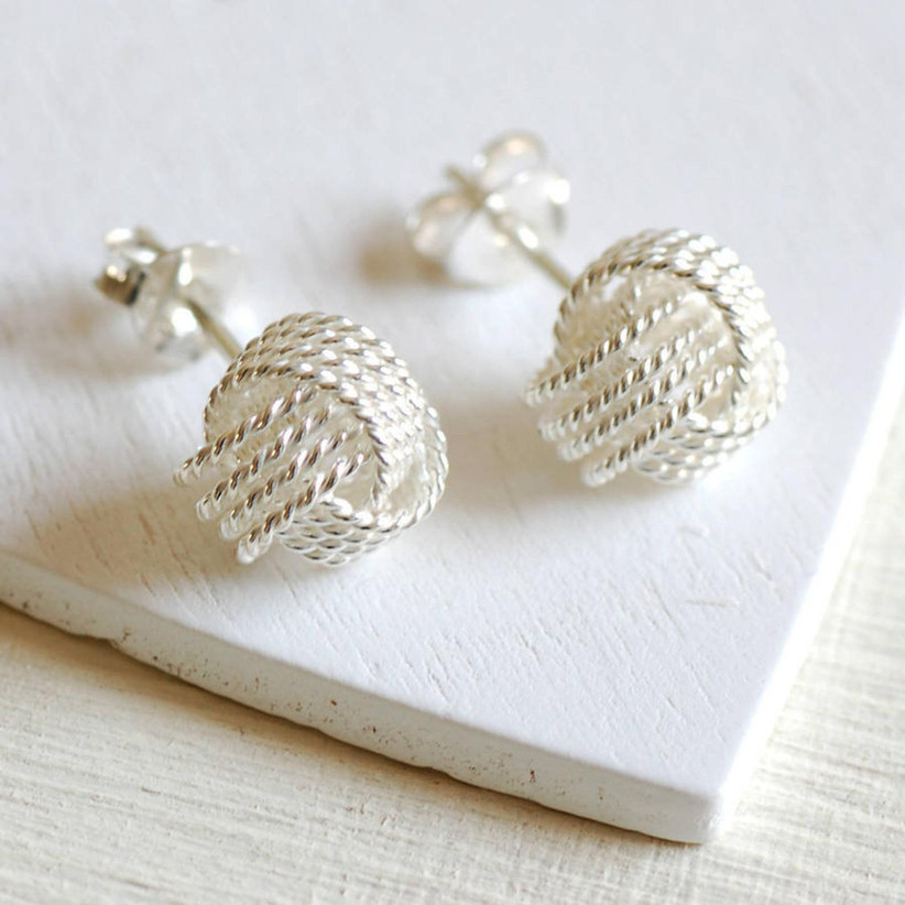 Tie the Knot stud bridesmaid earrings