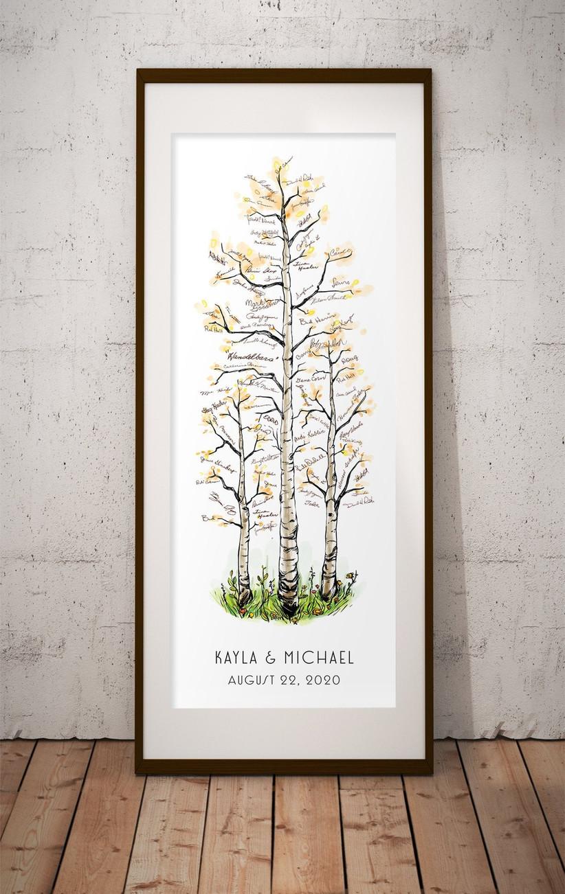 Custom birch tree illustration poster guest book idea