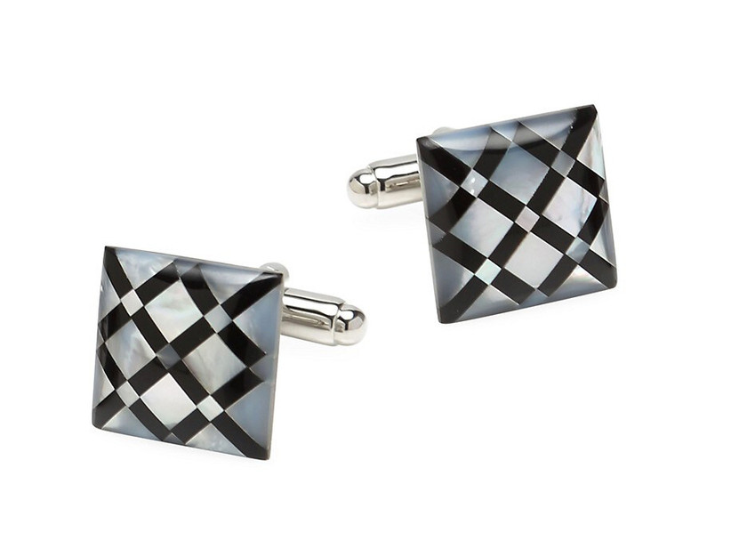 Square wedding cuff links with mother-of-pearl and onyx argyle pattern