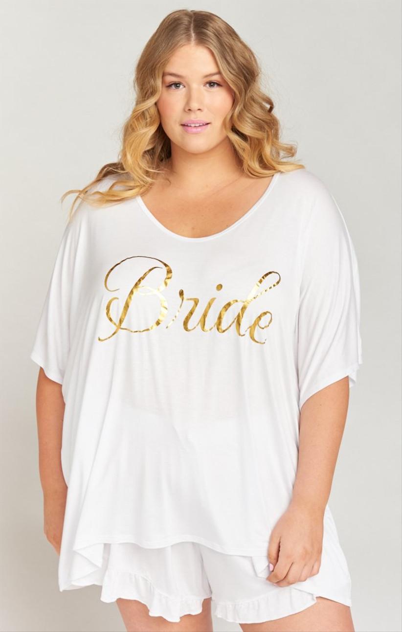 white bride plus size pajama set