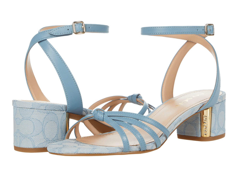low block heel blue wedding sandals with ankle straps and coach logo
