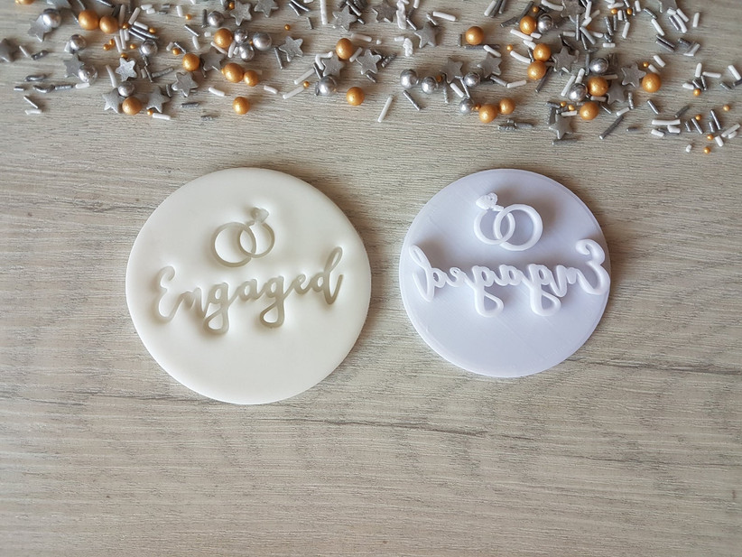 engaged cookie stamp