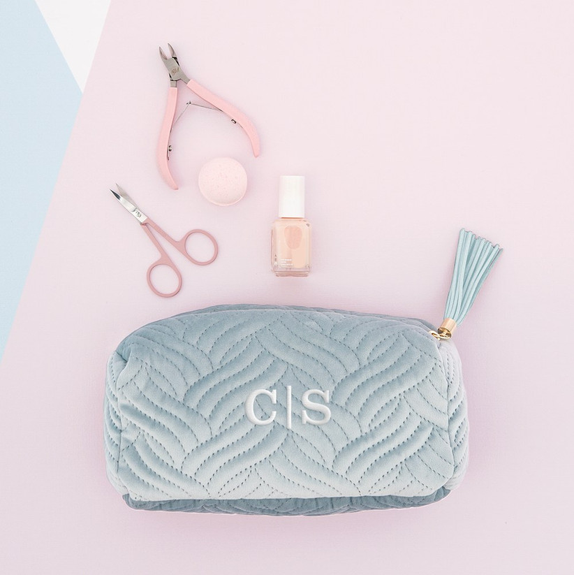 Monogram makeup bag bridesmaid box idea