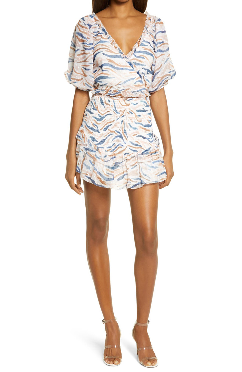 short engagement party dress with allover abstract stripe print in pale blue and orange