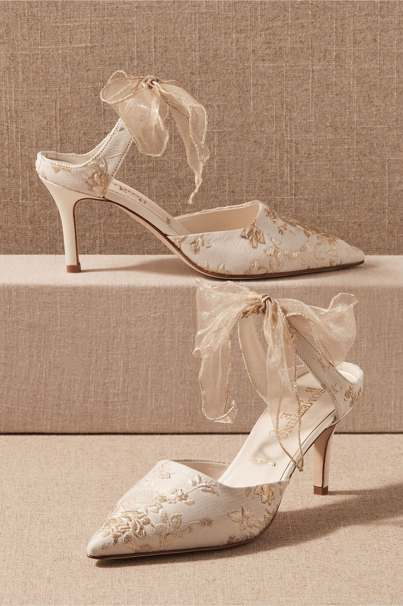 high heel mules with pointed toe and gold floral embroidery