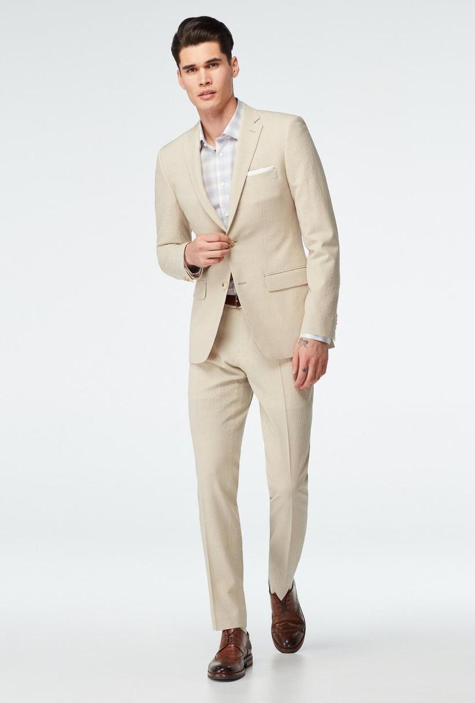 Light beige lightweight seersucker two-piece suit