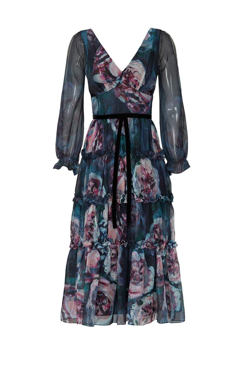 Marchesa Notte long-sleeve winter dress