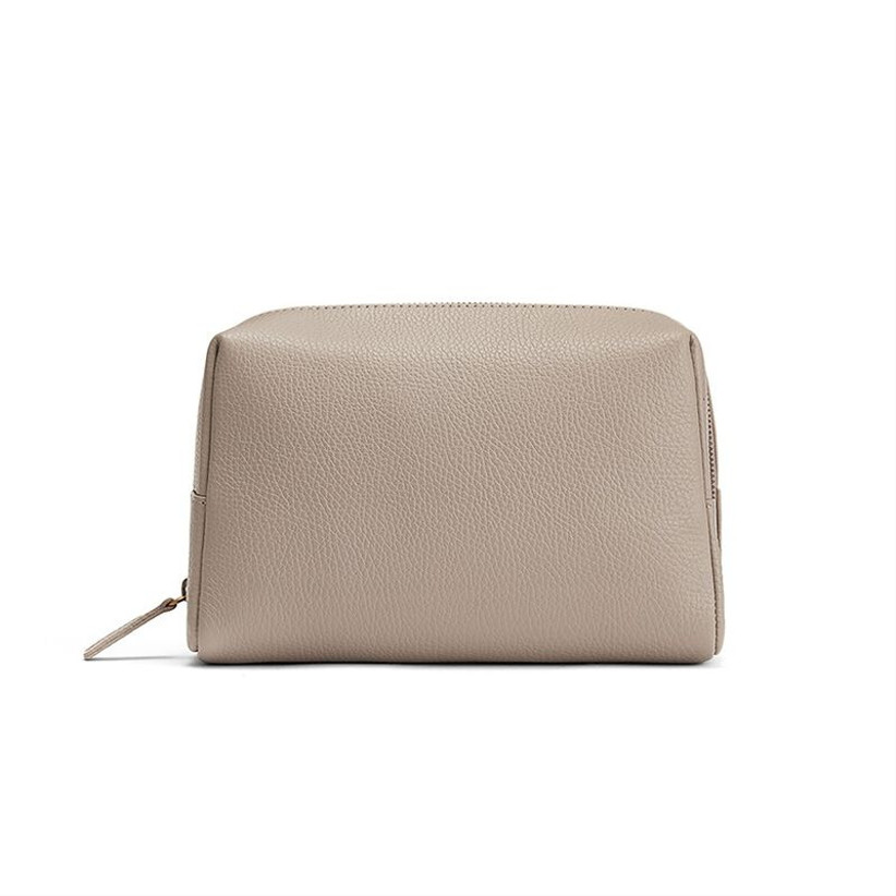 beige leather toiletry bag