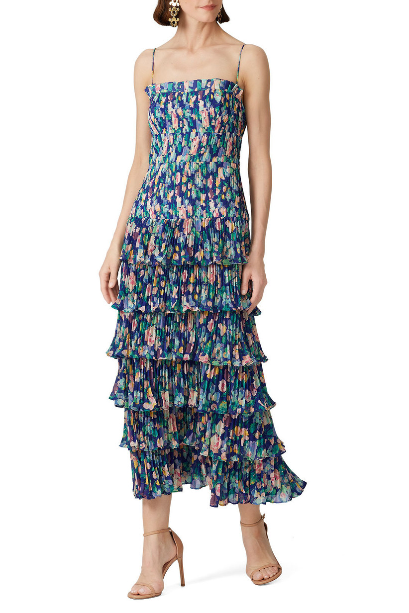 Navy floral ruffled tiered maxi dress