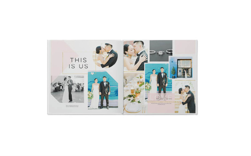 Modern photo book opened to display collage of couple's wedding photos with captions and overlapping design