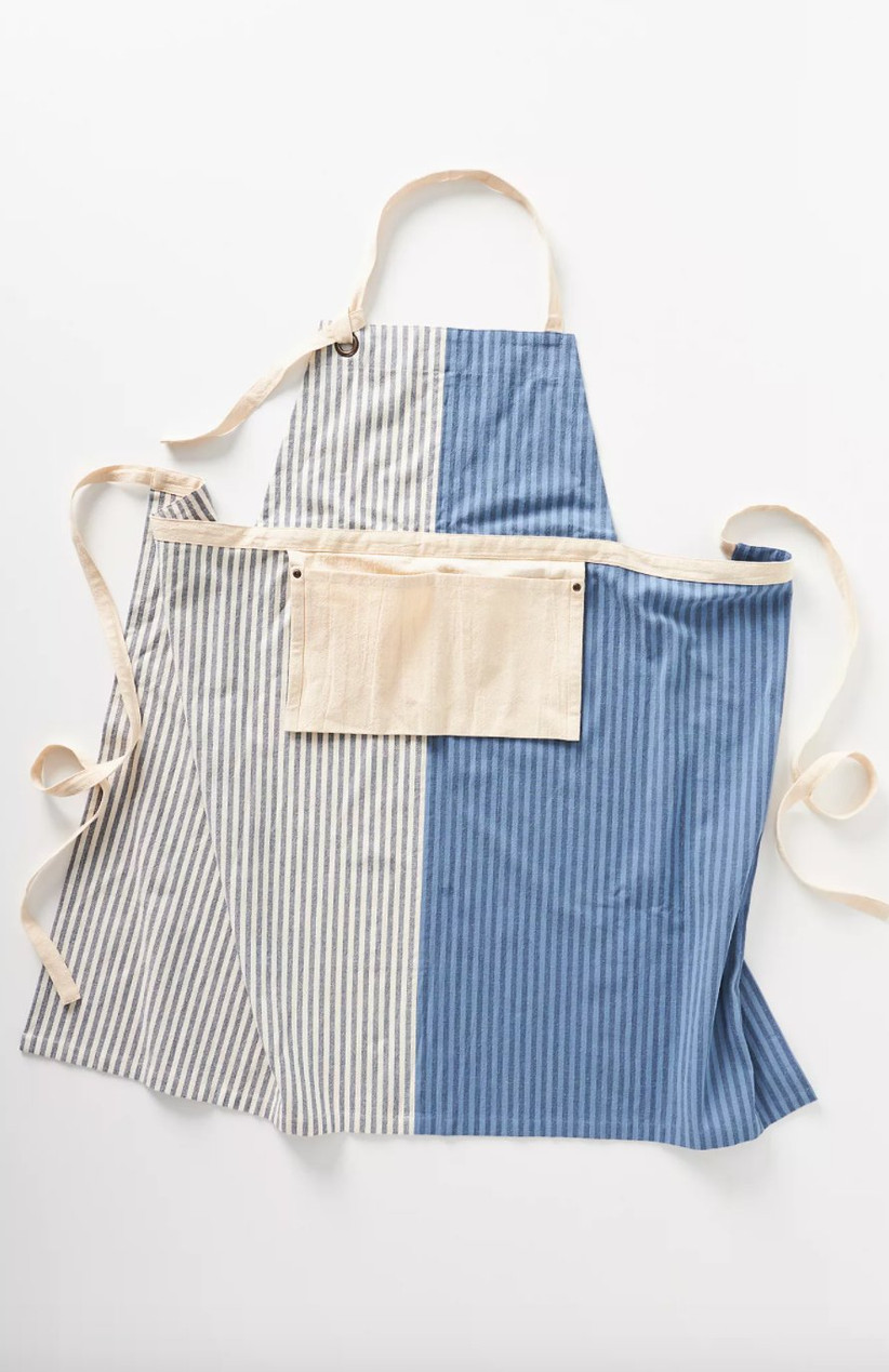 Dual tone striped apron