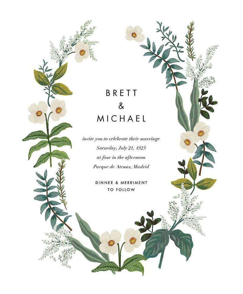 Greenery wreath affordable wedding invitation design