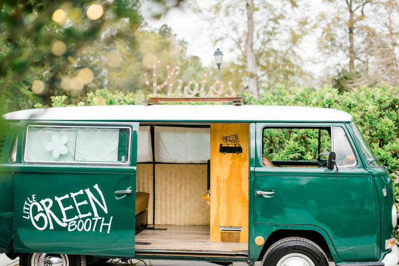 vintage green VW bus transformed into photo booth
