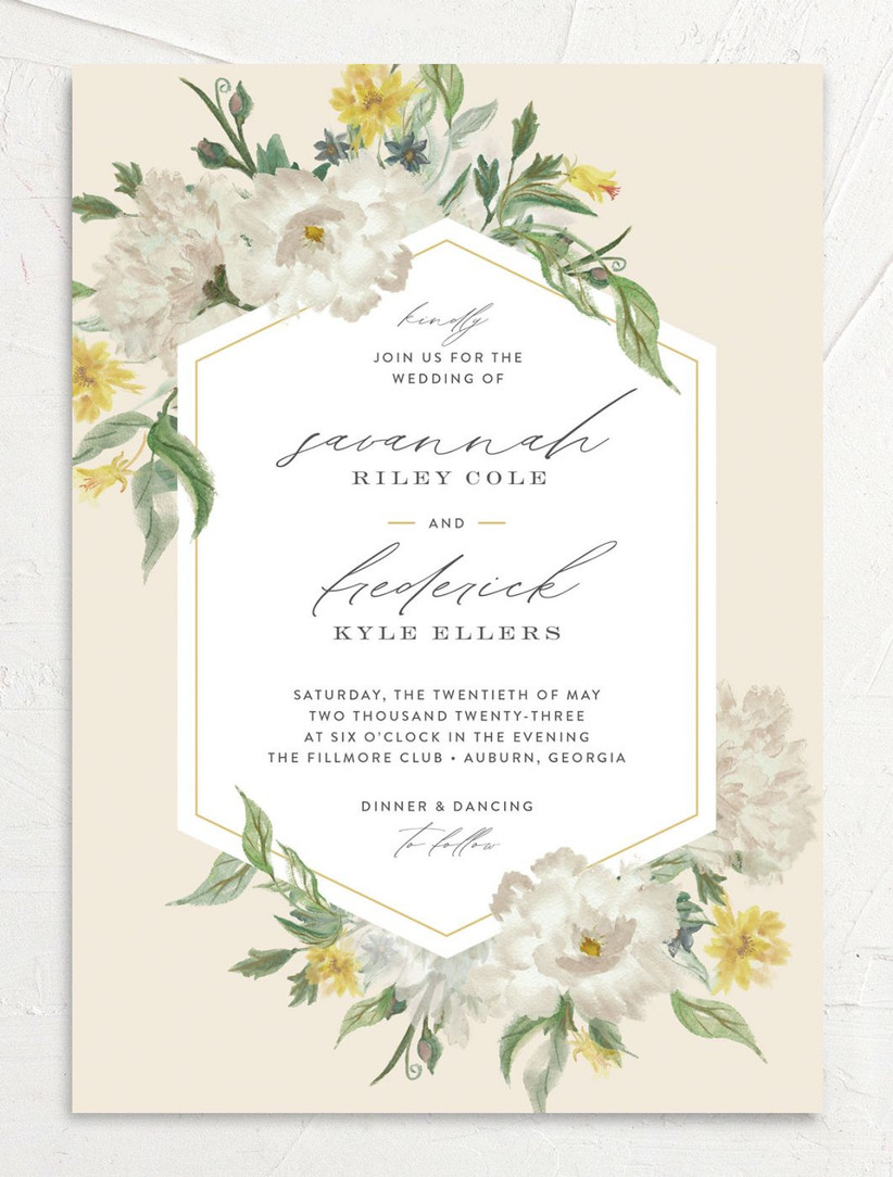 elegant spring wedding invitations with yellow and gray flower design