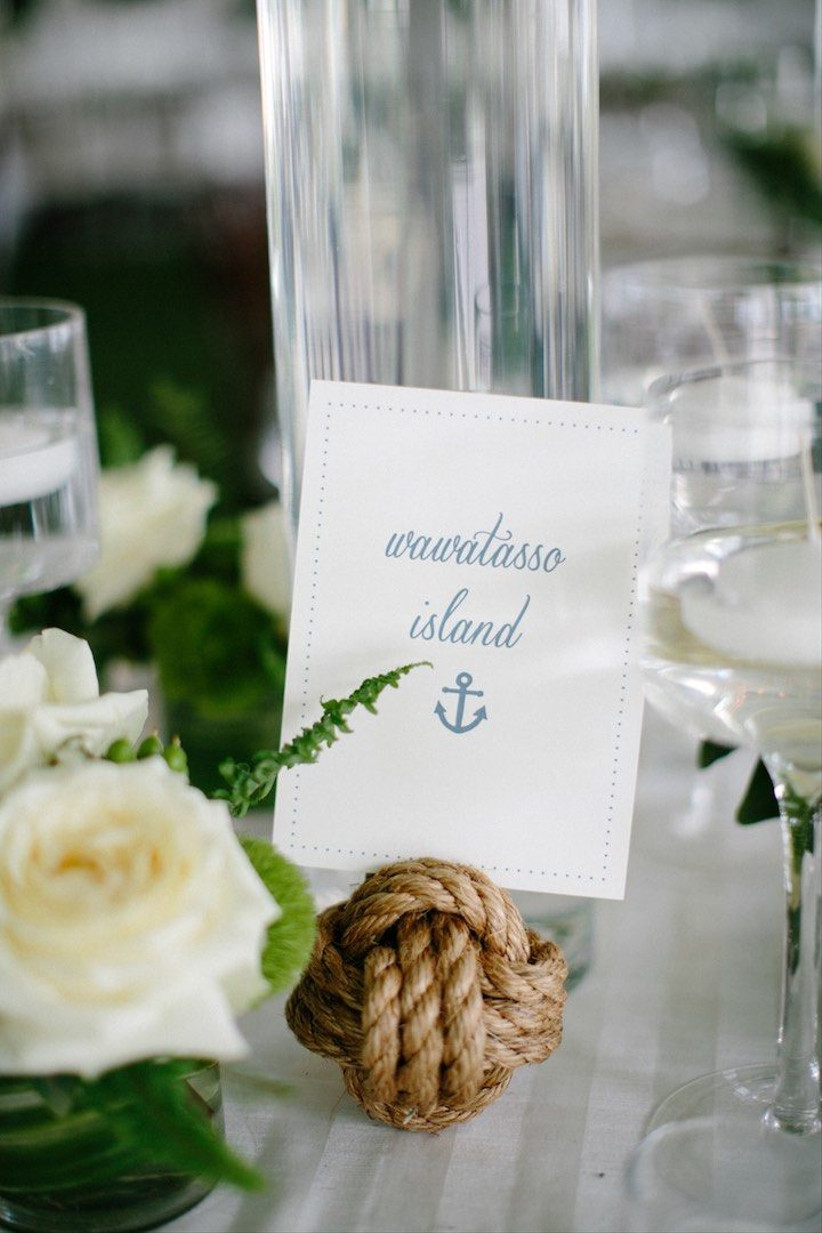 wedding table number displayed in nautical knot rope ball