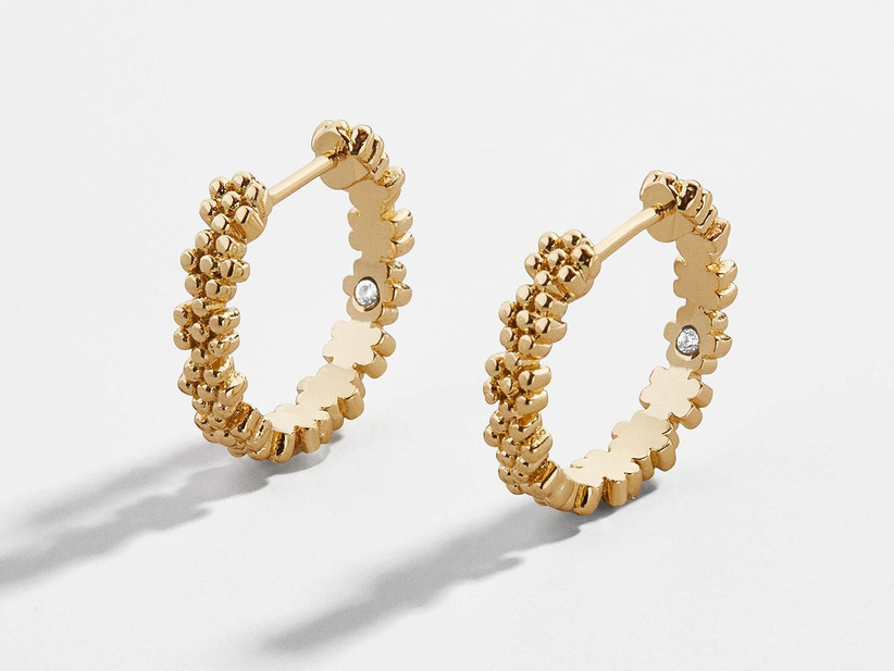 Floral pattern gold huggie hoop earrings
