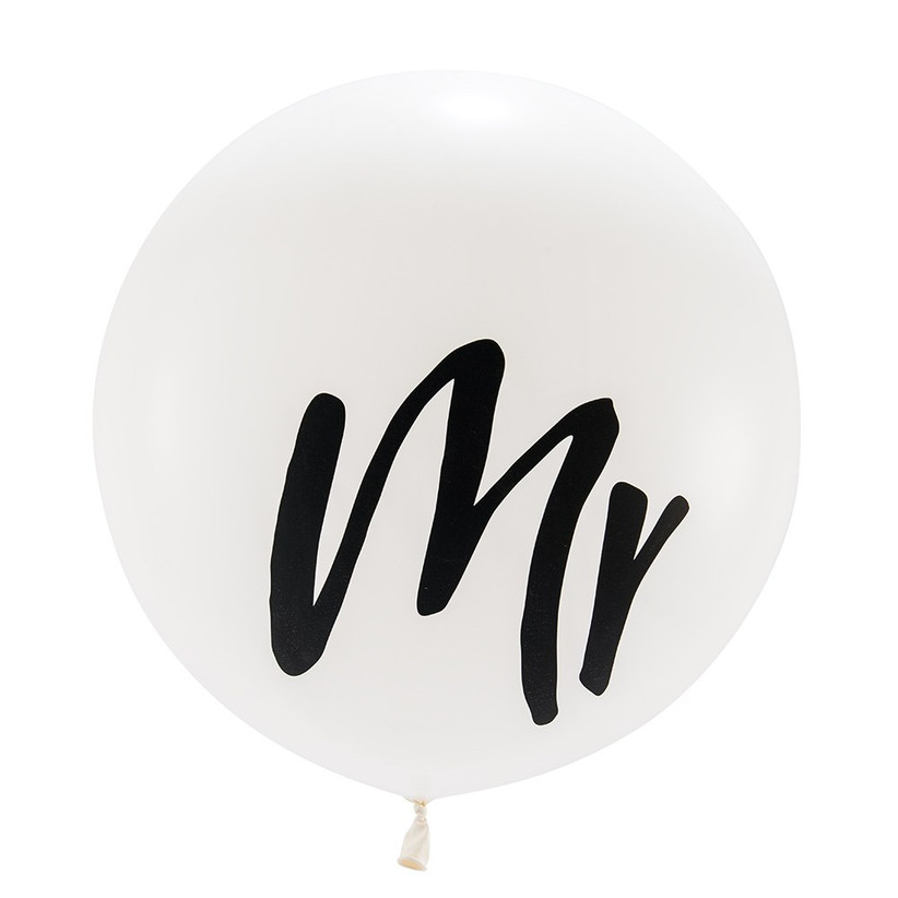 white balloon with mr. printed on it in black