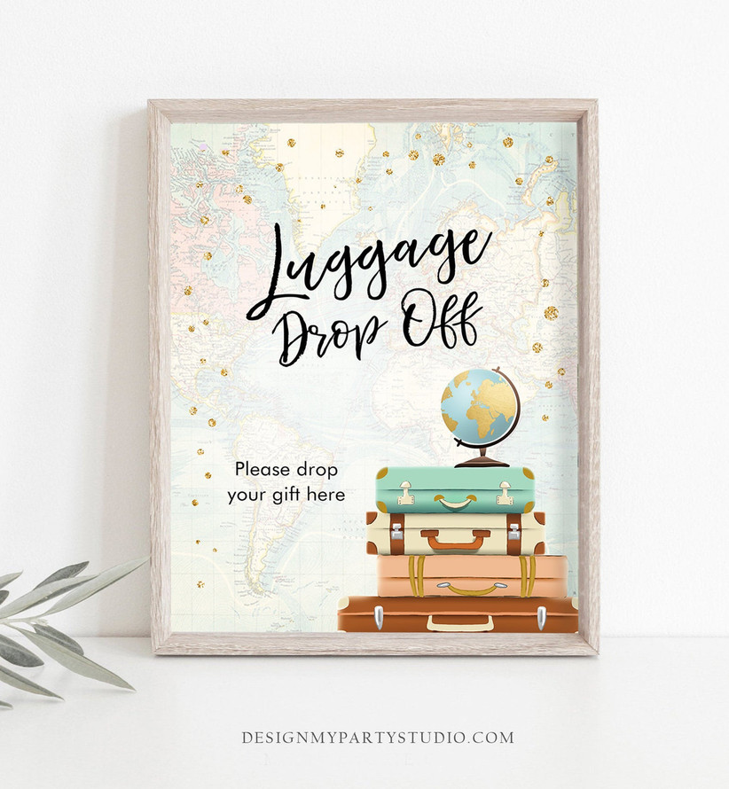 luggage drop off gift sign