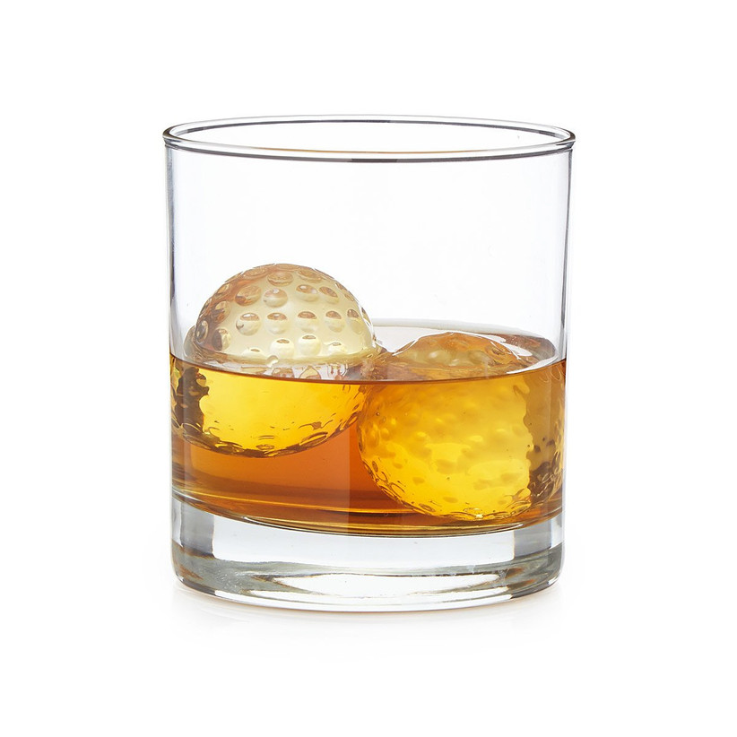Gold ball-shaped whiskey chillers father of the bride gift