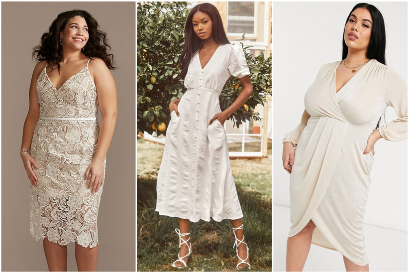 three models wearing engagement party dresses in ivory colors