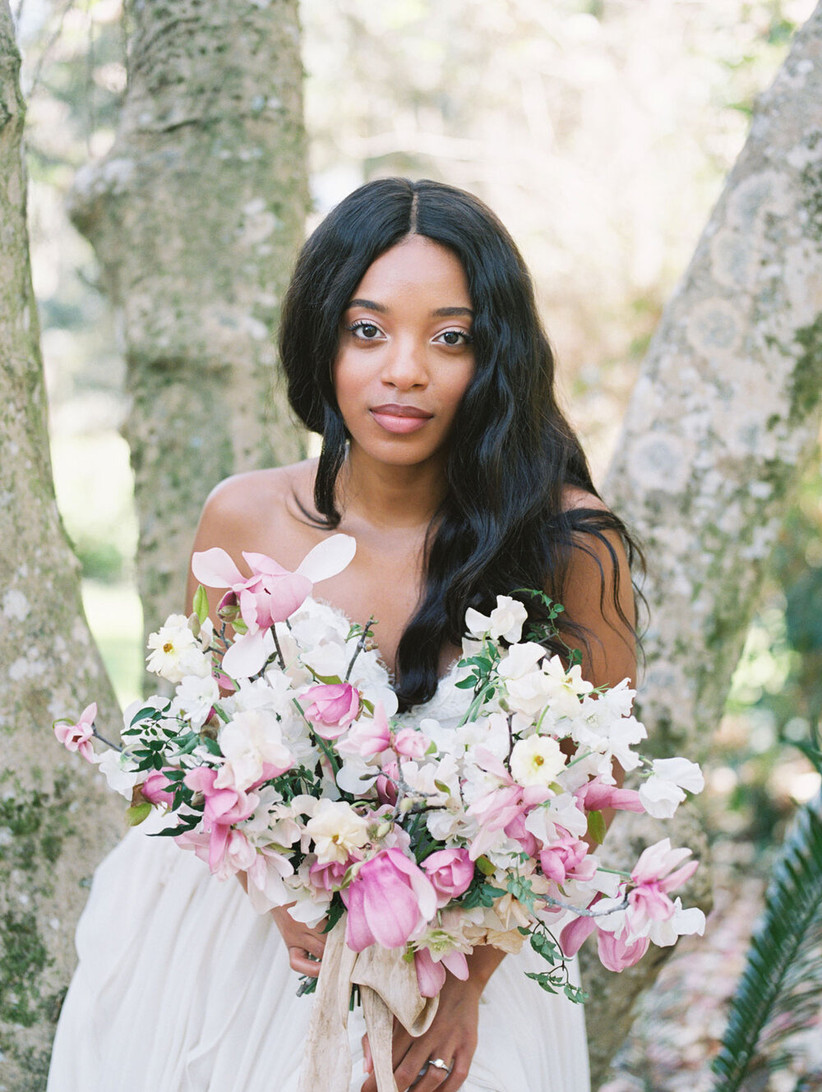 spring wedding bouquet pink magnolias and roses